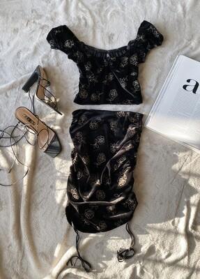Black Gold Rose Skirt