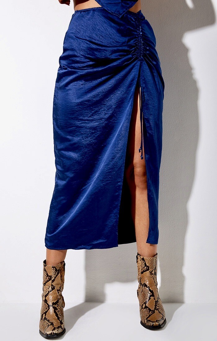 Midnight Blue Midi Skirt