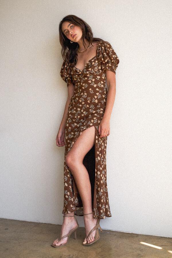 Brown Floral Maxi Dress
