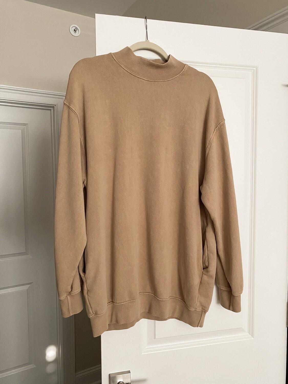 Tan French Terry Mock Sweatshirt
