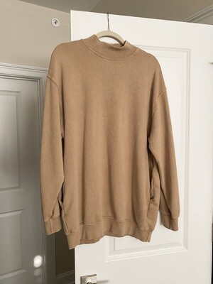 Tan French Terry Mock Sweatshirt