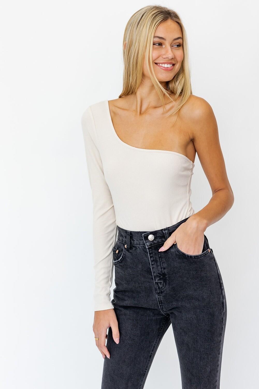 Taupe One Shoulder Long Slv Bodysuit
