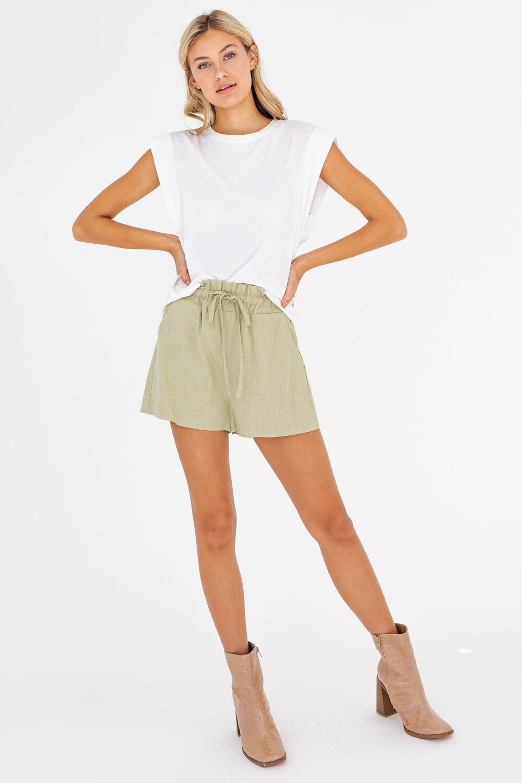 Sage Green Paper Bag Shorts