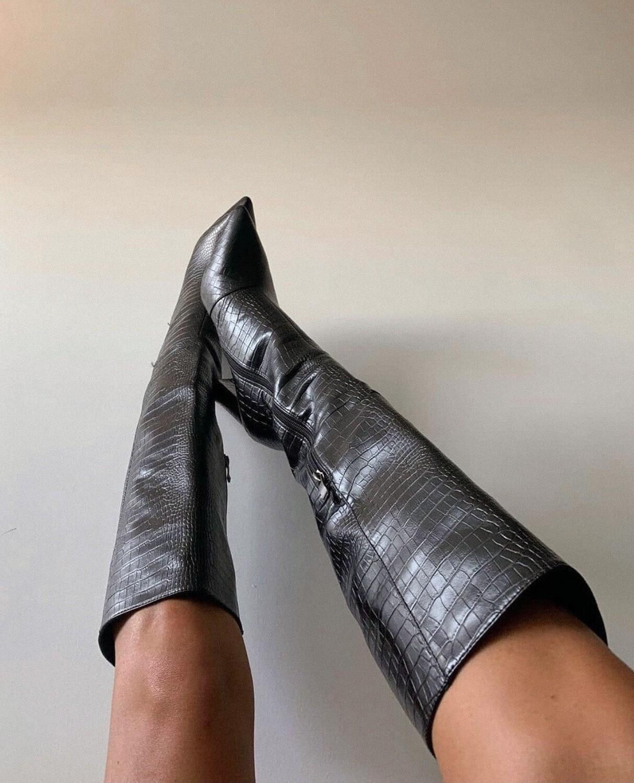 Black Tall Croc Boots