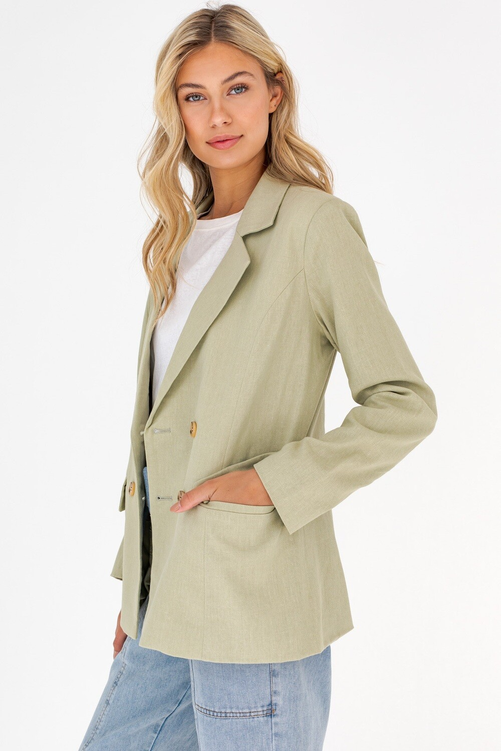 Sage Green Double Breasted Blazer