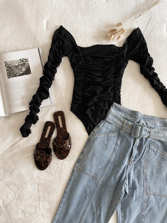 Black Shirring Long Slv Bodysuit