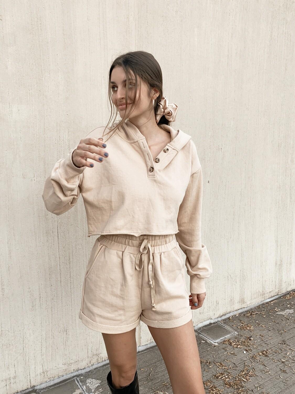 Sand Cropped Sweatshirt
