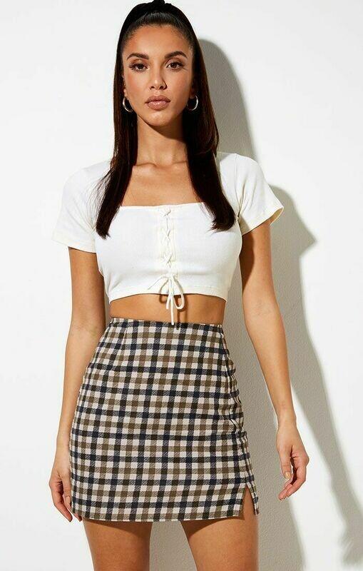 Tan 40's Checkered Mini Skirt