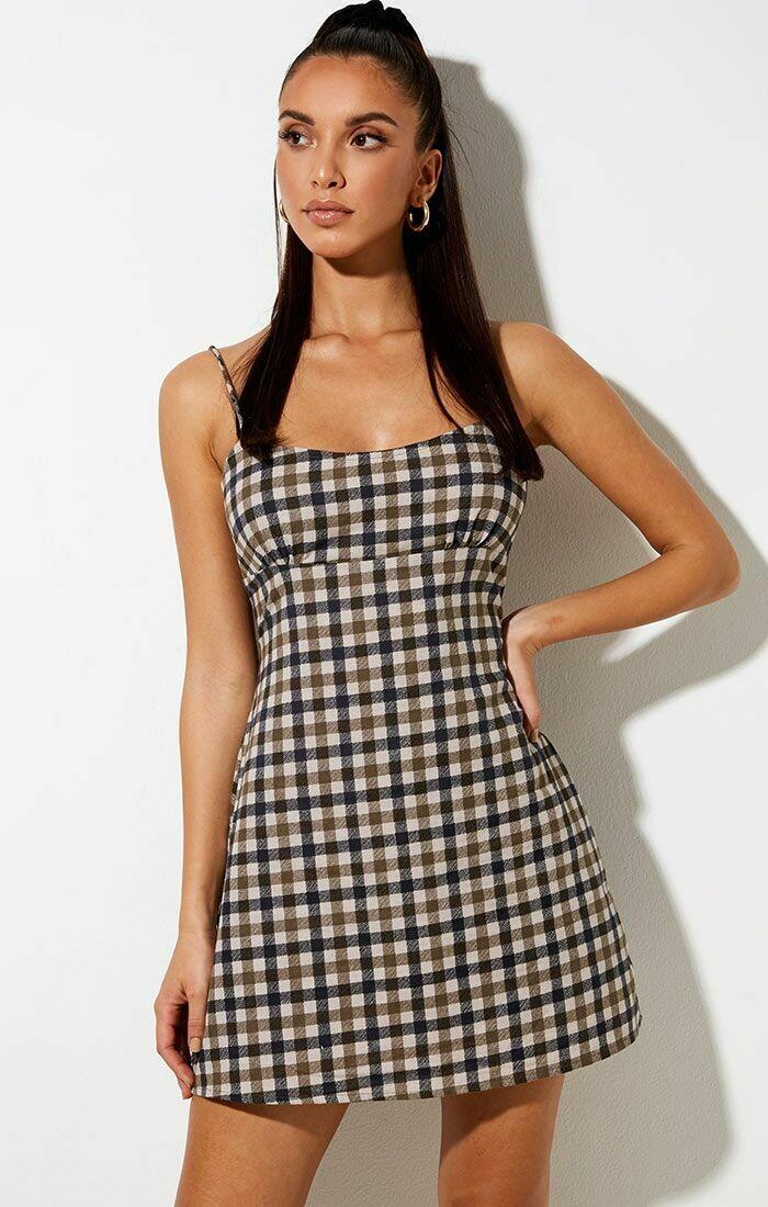 Tan 40's Checkered Mini Dress