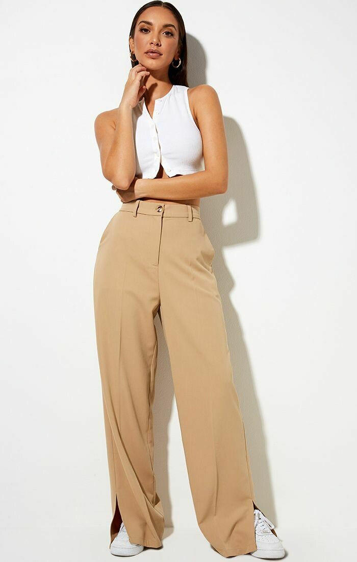 Tan Side Slit Trousers