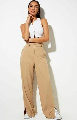 Tan Side Slit Trousers