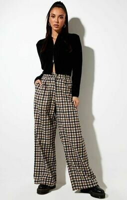 Tan 40's Checkered Trousers