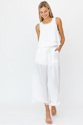 White Frayed Wide Leg Pants