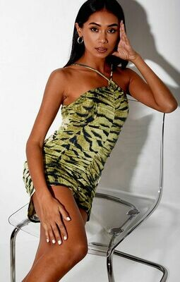 Green Tiger Ruched Dress