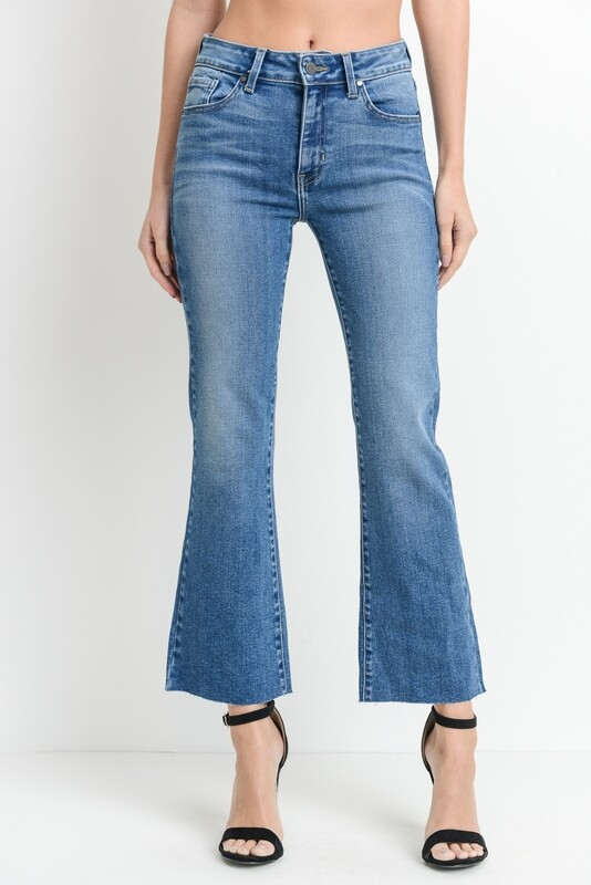 High-Rise Scissor Cut Crop Flare Denim