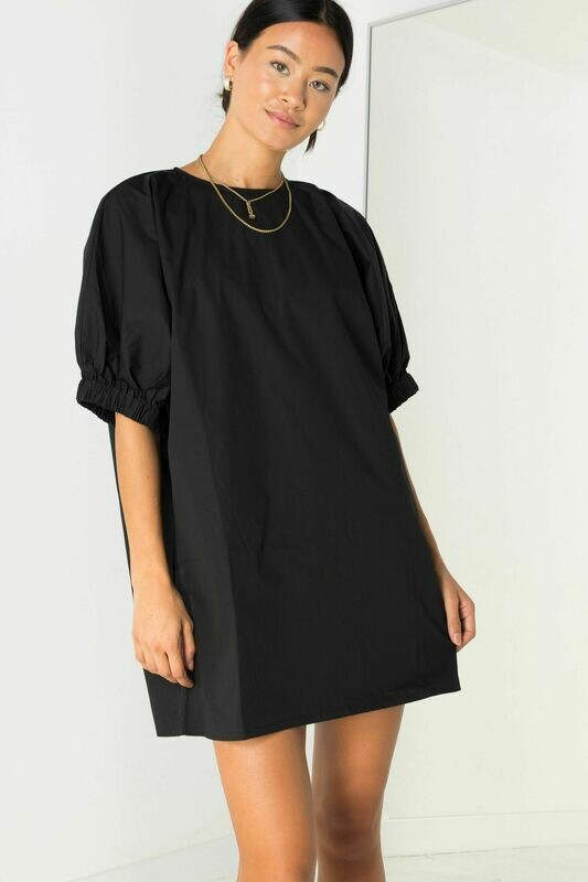 Black Oversized Puff Slv Dress