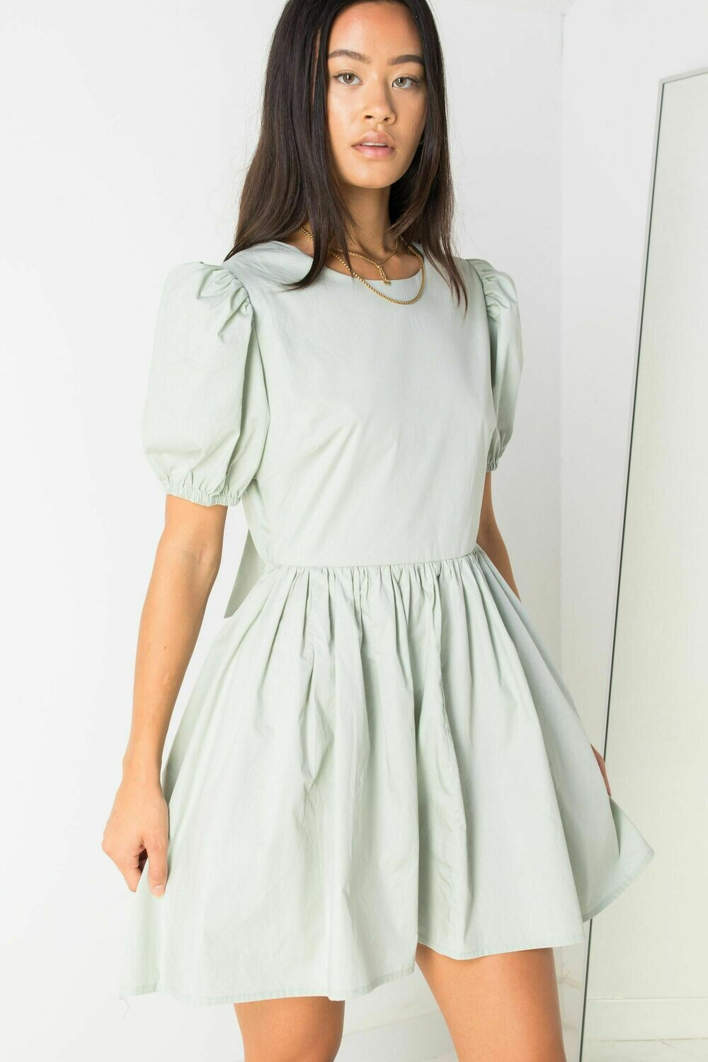 Mint Green Open Back Dress