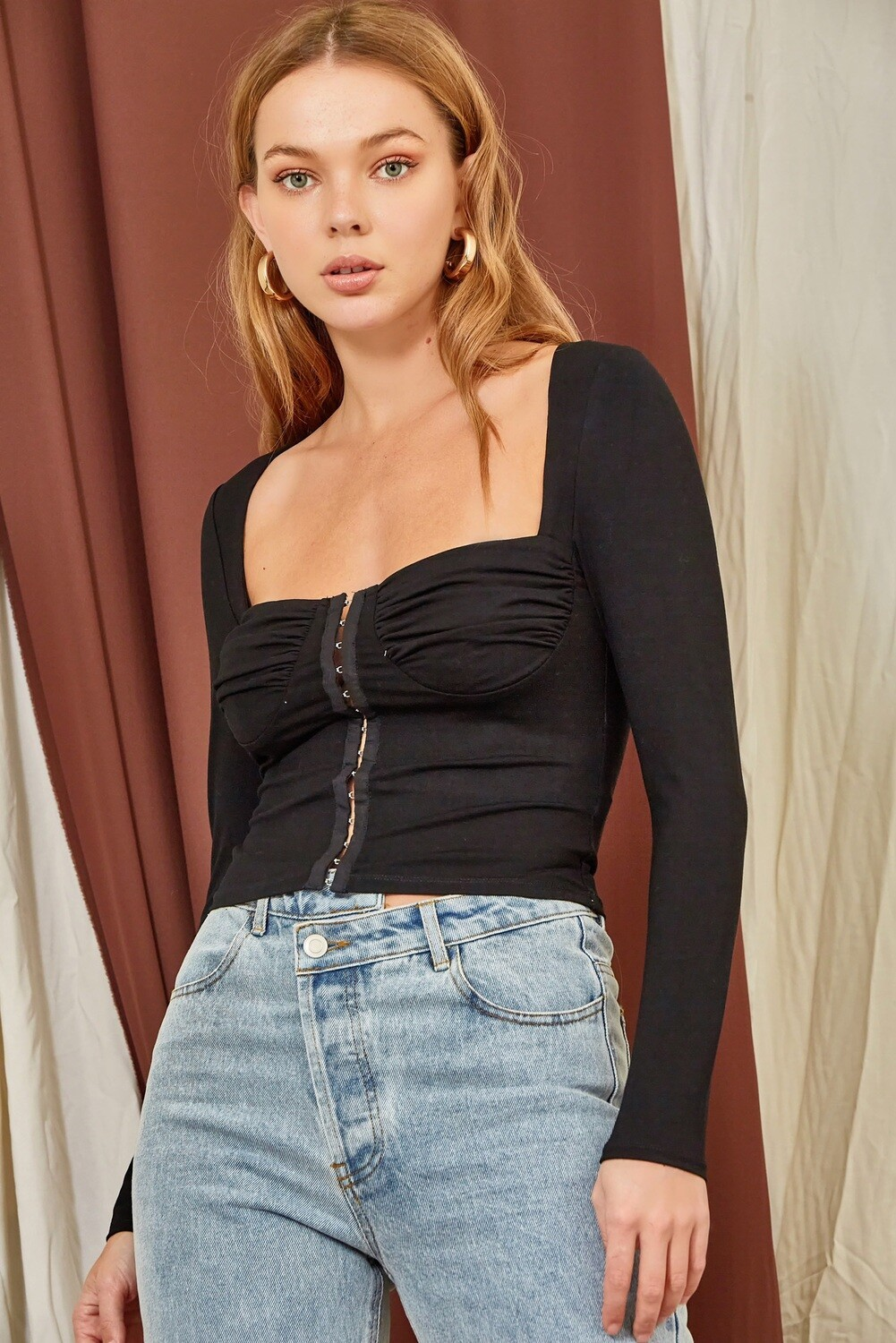 Blk Hook Eye Bustier Top