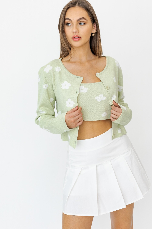Sage Floral Cardigan