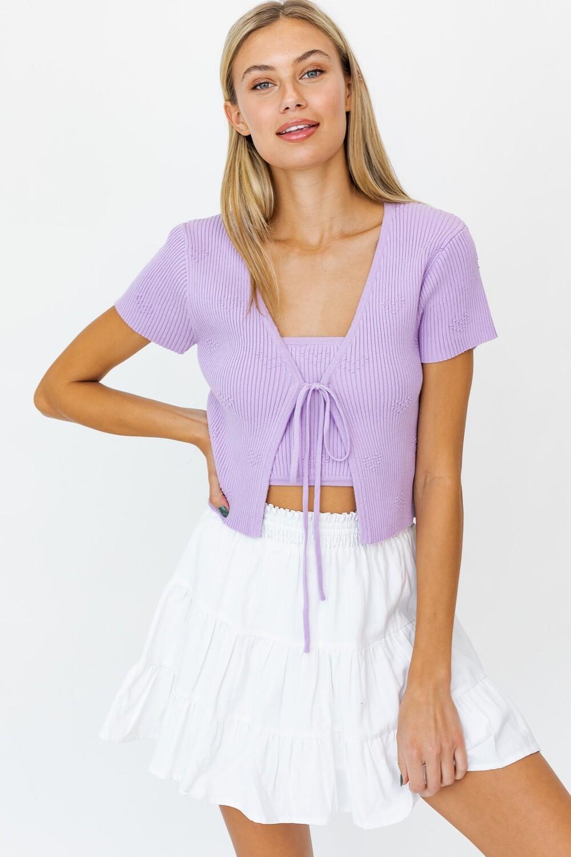 Lavender Knit Tie Cardigan