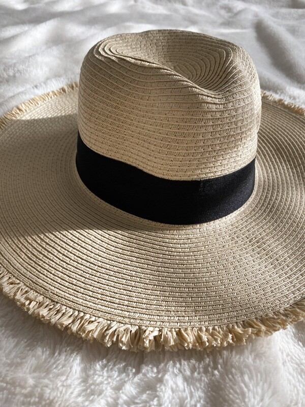 Straw Distressed Black Ribbon Hat