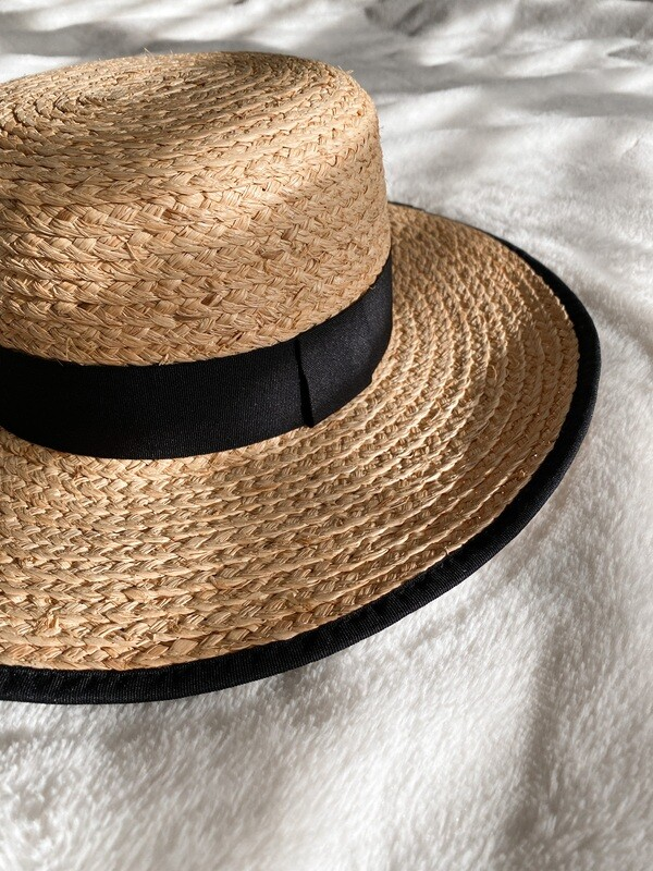 Straw Black Trim Flat Top Hat