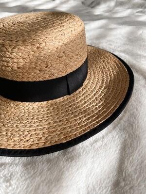 Straw Black Trim Flat Top Hat