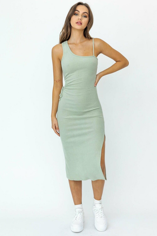 Sage One Shoulder Midi Dress