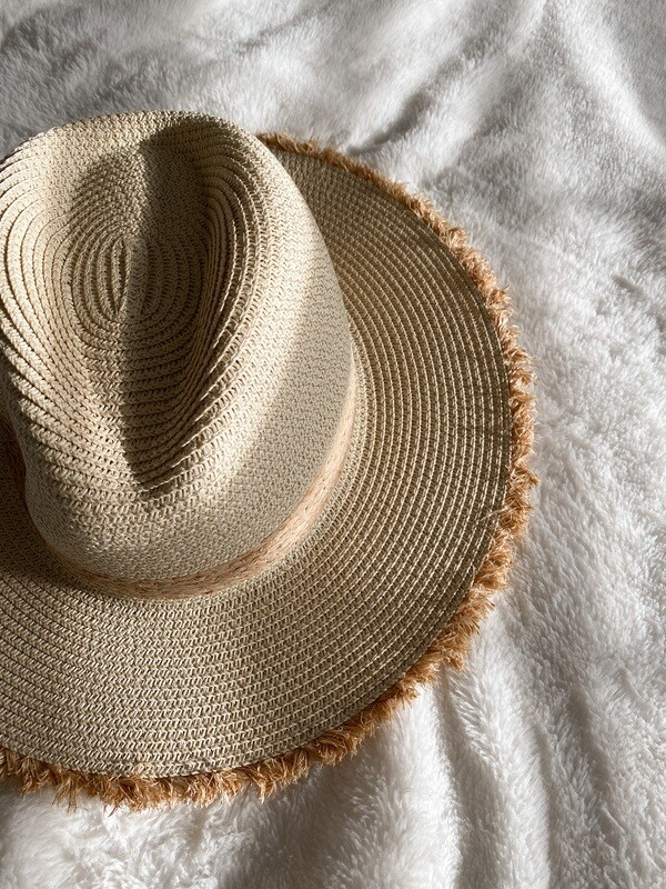 Straw Distressed Tan Ribbon Hat