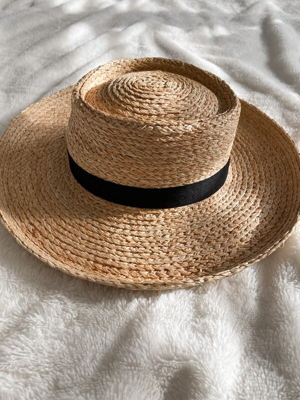 Straw Flat Top Ribbon Hat