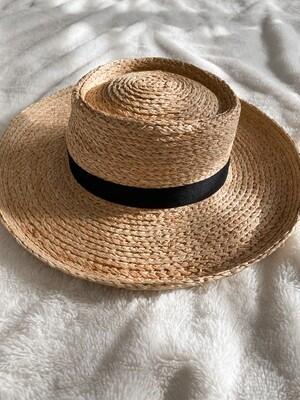 Straw Flat Top Ribbon Hat