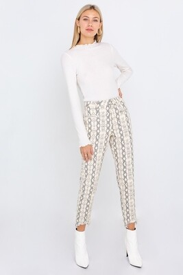 Snake Print Twill Trousers