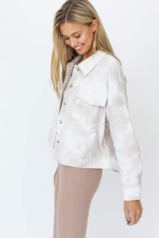 Mocha Tie-Dye Corduroy Shirt Jacket