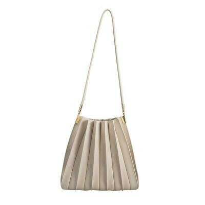Bone Pleated Shoulder Bag