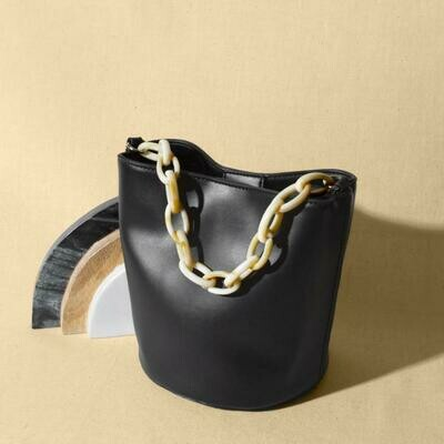 Black Acrylic Handle Bucket Bag