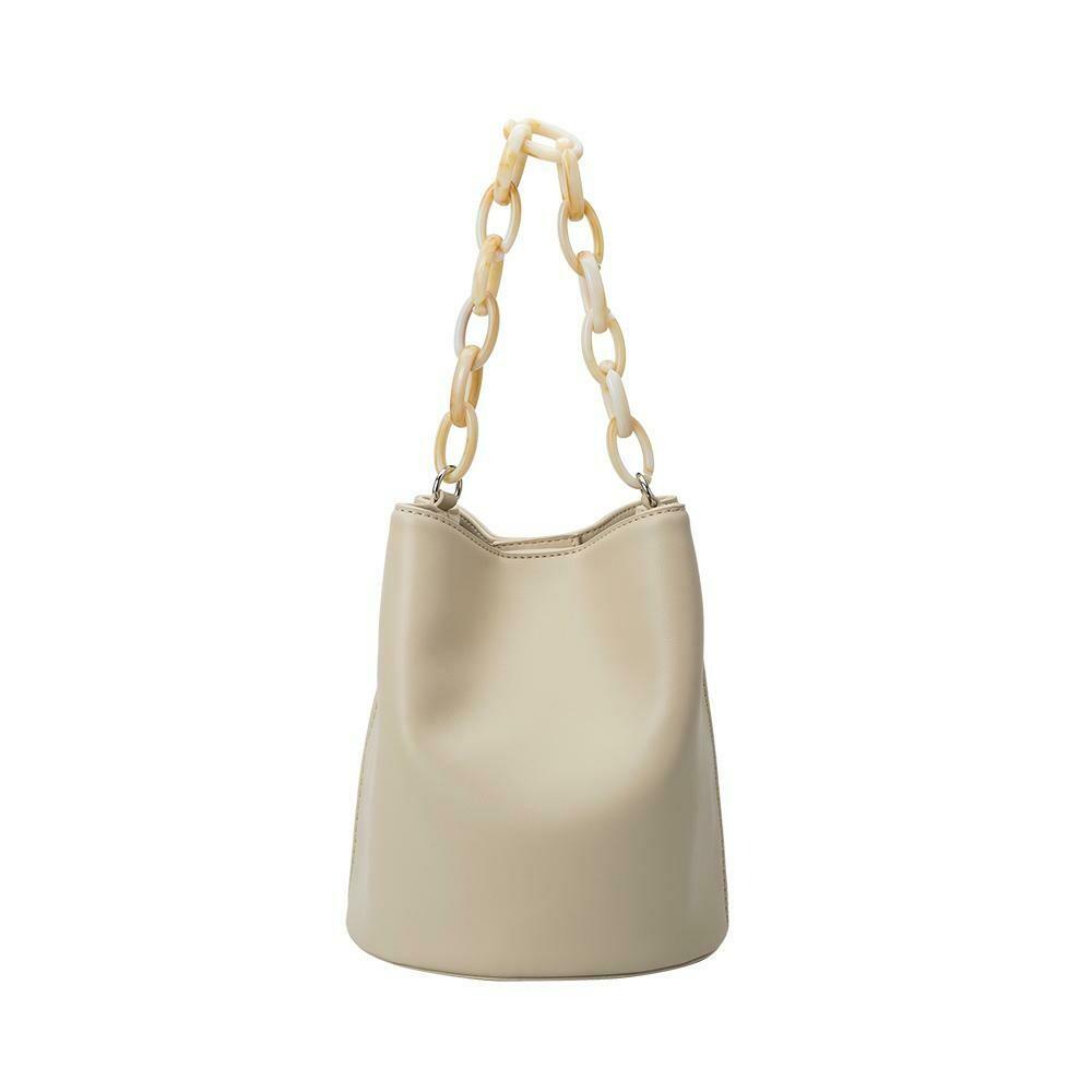Bone Acrylic Handle Bucket Bag