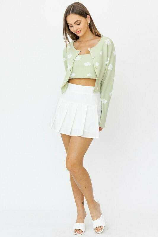 White Poplin Pleated Mini Skirt