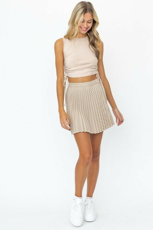 Plaid Accordion Mini Skirt