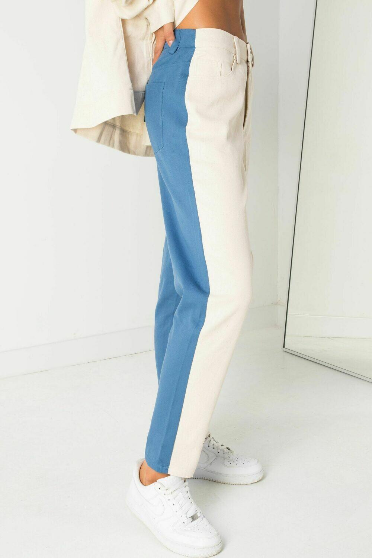 Beige Blue Color Block Mom Jeans