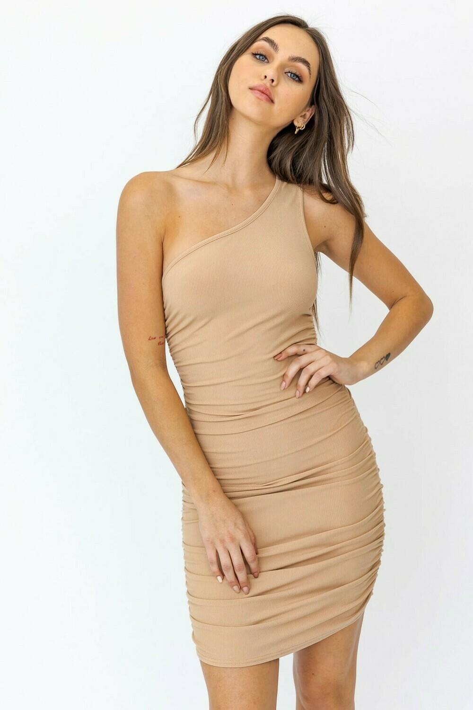 Tan One Shoulder Shirring Dress