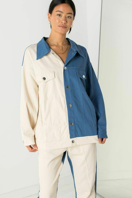 Beige Blue Color Block Boyfriend Jacket