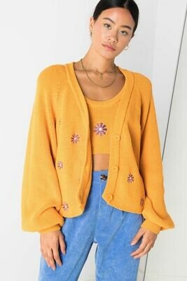 Orange Knit Floral Cardigan
