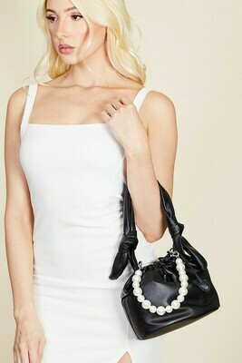 Blk Faux Leather Pearl Bag