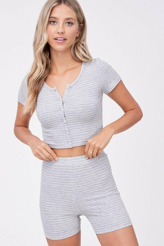 Heather Grey Striped Knit Top