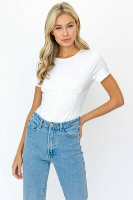 White Corset Silhouette Bodysuit