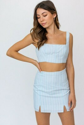 Baby Blue Striped Micro Crop