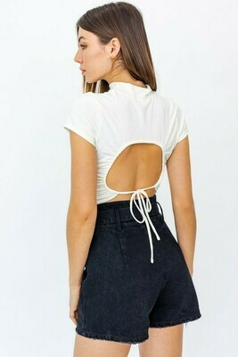 Ivory Mock Neck Open Back Top