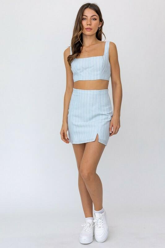 Baby Blue Striped Mini Skirt