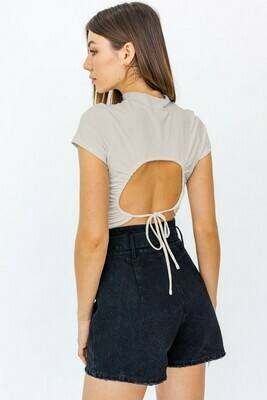 Taupe Mock Neck Open Back Top
