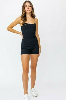 Black Ribbed Fitted Romper